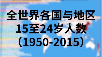 全世界各国与地区15至24岁人数(1950-2015)