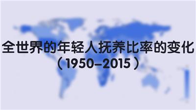 全世界的年轻人抚养比率的变化(1950-2015)