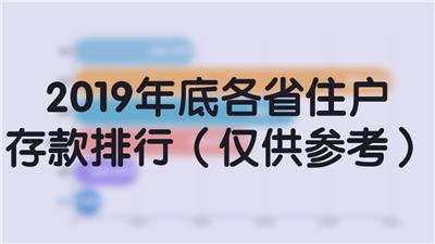 2019年底各省住户存款排行(仅供参考)