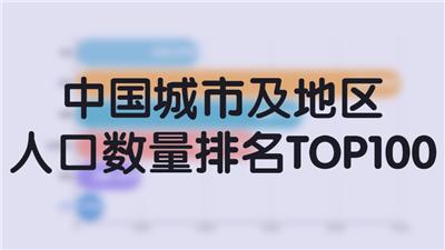 中国城市及地区人口数量排名TOP100