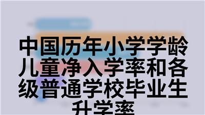 中国历年小学学龄儿童净入学率和各级普通学校毕业生升学率