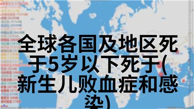 全球各国及地区死于5岁以下死于(新生儿败血症和感染)
