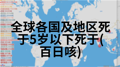 全球各国及地区死于5岁以下死于(百日咳)